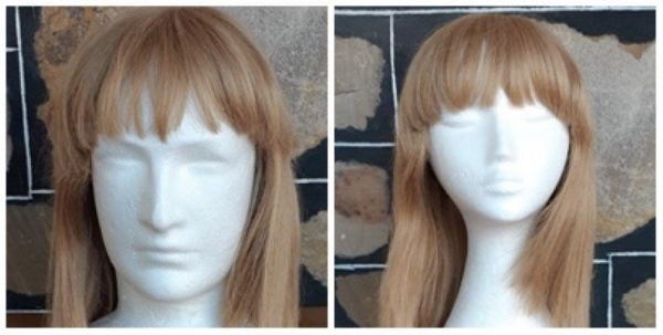 Strawberry Blonde wig, 1970's, unisex, acrylic by 'Elura', fringe, shoulder length