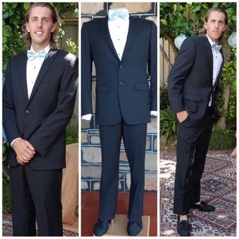 """Black fine pinstriped 2 piece suit by 'Dom Bagnato', wool/poly, size S, 32"""""""