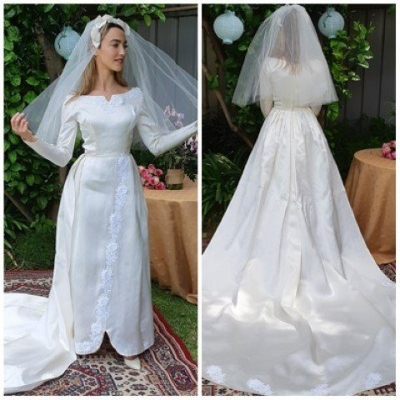 Vintage 1950's, Satin Wedding Dress with train and veil, size 6