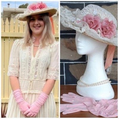 Vintage look straw hat with lace and flowers, plastic pearl beads and pink vintage gloves.