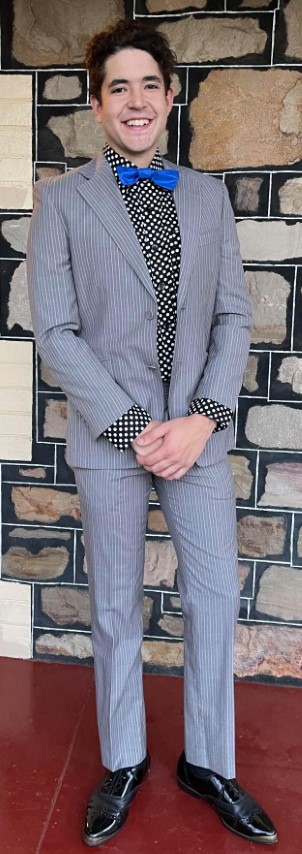 "Pinstriped 2 piece suit, grey, wool/polyester, by 'Uber Stone', size S, 32"" waist."
