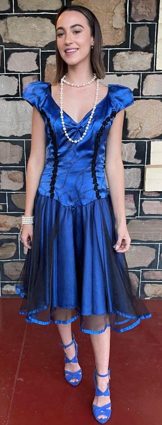 Prom Swing dress, 1980's, electric blue, polyester/tulle, handmade, size 8