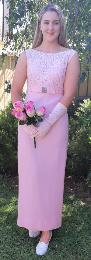 Princess Line 1960's Gown & Embroidered vintage gloves, Pink, silk & Polyester, size 10
