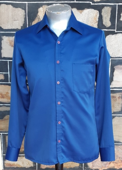 Disco shirt, 1970's, satin polyester, blue, by 'Night Moves', Gloweave, size M