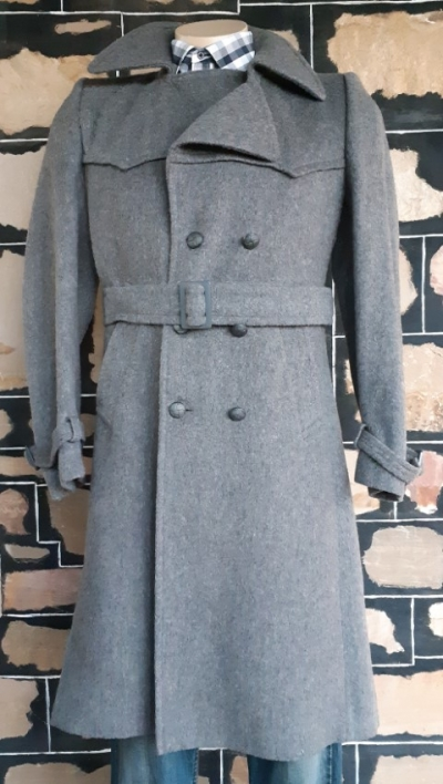 Wool Trench Coat, vintage, grey, by 'Tegnor Italy', size M