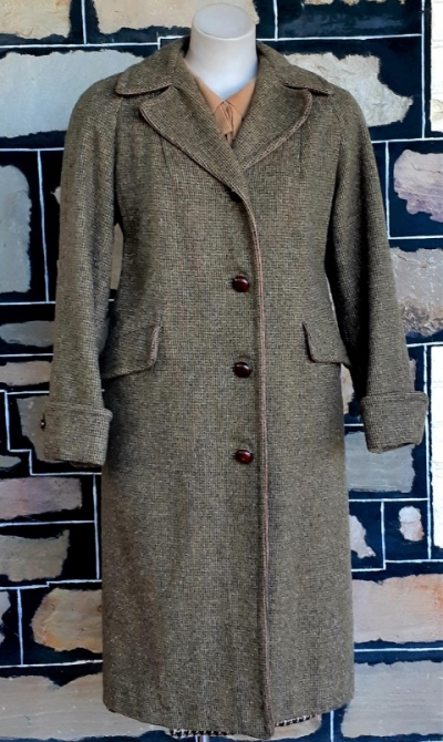 Wool Coat, 1960's, Moss green tweed, by 'Miller of Melbourne', size 14