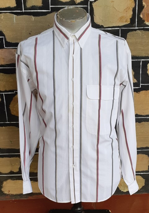 Cotton Casual Shirt, Striped White/rust/black, by 'Henry Grethel', size L-XL