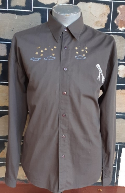 Retro Inspired Cotton shirt, embroidery detail, olive, by 'No Standing', size XL
