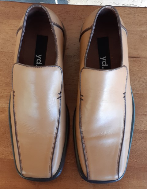 'Y.D' Men's Leather Loafers, caramel, size 9
