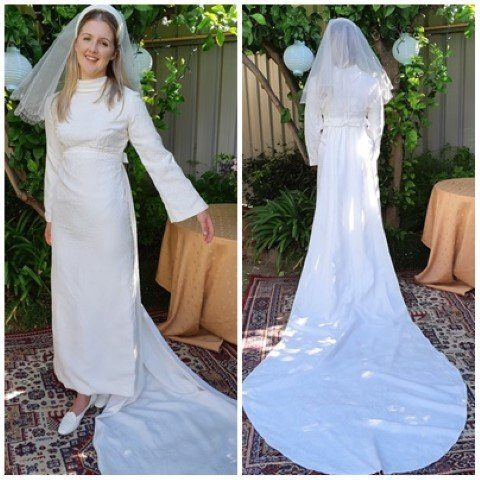 Wedding Gown with Train & Veil, 1960's Bell sleeved, Princess line, Damask/polyester, Cream, size 10