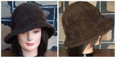 1970's Cloche/bell shaped Hat, Mohair, Chocolate Brown, 56cm