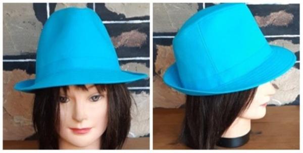 Fedora hat, aqua, cotton, 57cm