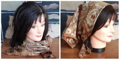 Silk Paisley Scarf, Autumn tones, 1970's, 66cm square.