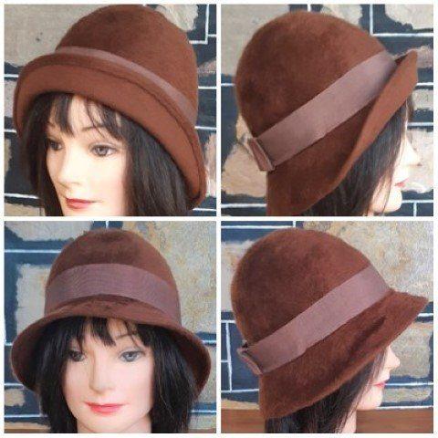 Trilby/cloche hat, Angora, brown, 1970's, 52cm circumference