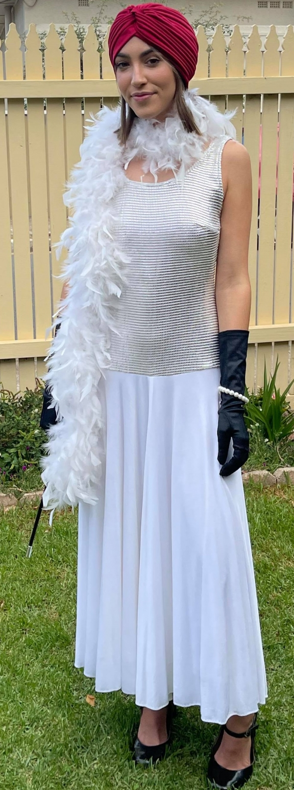 1920's inspired, white, jersey/sequinned dress by 'Geoff bade' includes feather boa & cloche, size 10