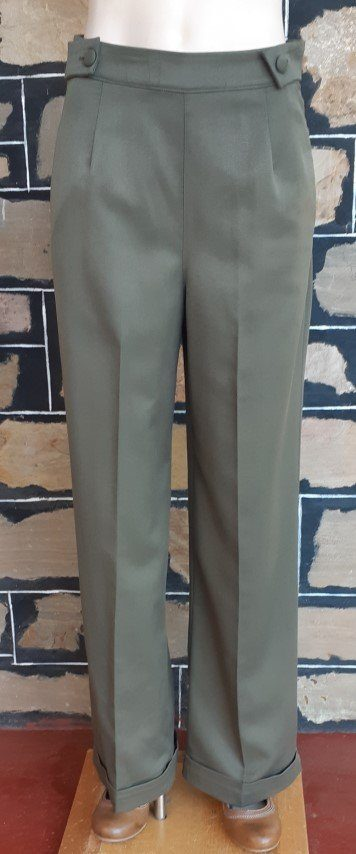 Khaki Wide Leg 1940's inspired pants, by 'Banned Apparel', poly/viscose, size S