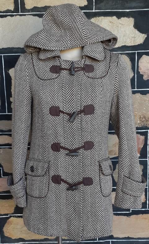 Duffle Coat, Herringbone, Brown/ beige, wool/poly by 'Just Jeans', size 10