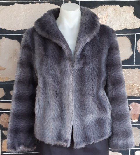 Faux Fur 1970's Jacket, grey, polyester, by 'Otex', size 12
