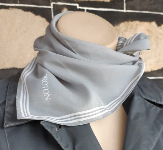 Oroton scarf, 53cm square, grey, polyester, Made in Japan.