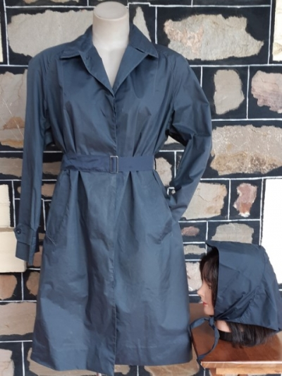 1950's Raincoat with rain hat, Nylon, Charcoal, Made in Italy, size 8-20