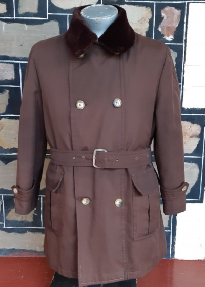 Car Coat, 3/4 length, Brown, with faux fur collar & removable lining, polyester, by 'Gascon', size L