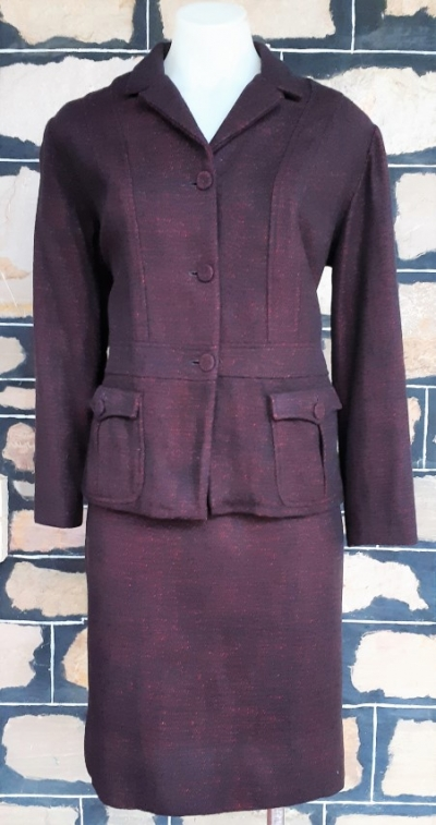 Suit, 1970's, Jacket and pencil skirt, Wool, Dark Plum, by 'Geoff Bade' size 10
