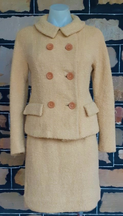 Suit, Jacket & pencil skirt, 1960's, wool, pale toffee colour, by 'Kartex of Melbourne' size 10