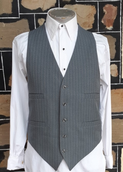 Waistcoat, Grey pinstriped, wool/poly, vintage from USA.
