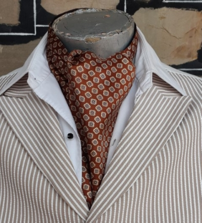 Cravat, Rust Autumnal print, polyester, vintage, USA