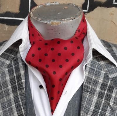 Cravat, Maroon/black polka-dot, satin, USA imported.