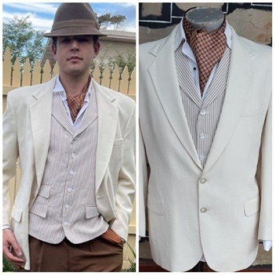 Dinner Jacket, Cream, linen/polyester, Tailored in USA, size XL