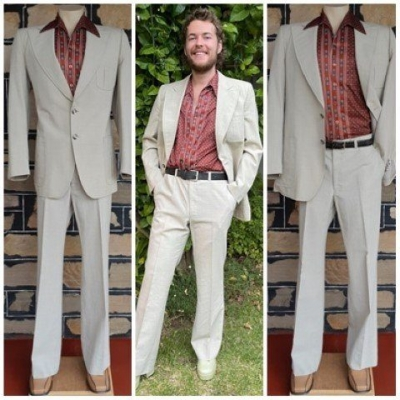 """1970's Suit, flared trousers, beige, Wool Celsius 30, by 'Stafford Ellison for Mc Gregor', size L, 36"""""""