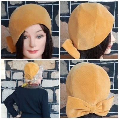 Vintage 50's cloche with bow trim, Velvet Hat, Mustard, by 'Janifer' size 55.5cm