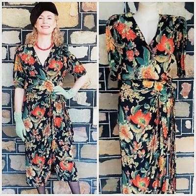 1980's Wrap dress, Autumnal Floral Print, 1940's inspired, viscose, by 'Dresses One', size 12