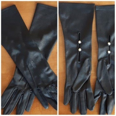 Vintage 3/4 length gloves, Black with pearl bead buttons, by 'Kayser' Nylon, size 7