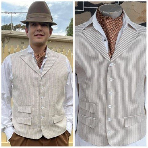 Waistcoat, seersucker, cotton/poly, taupe/white, USA imported, size L