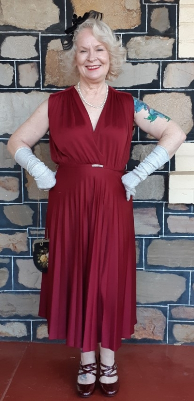 1970's Jersey Dress, sun ray pleat, Maroon, polyester by 'Katies' size 14