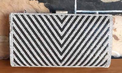 Evening Clutch Bag, sequinned, silver/black, polyester/chrome.