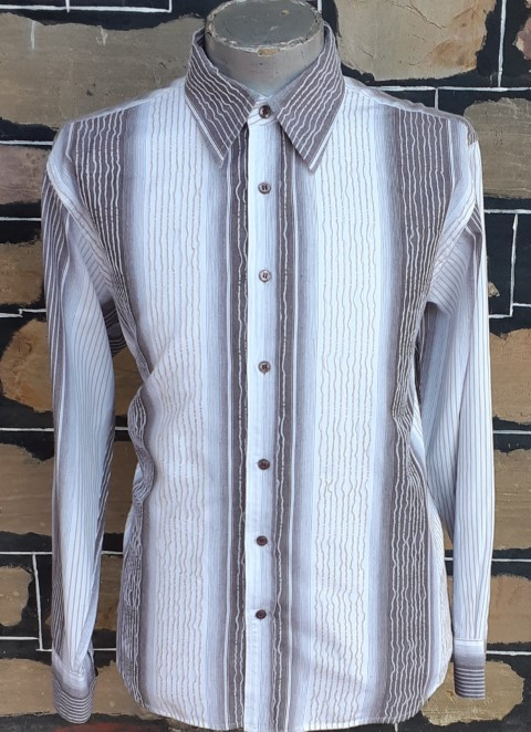 70's inspired casual shirt, cream/brown/caramel weaved, cotton by 'Harry Klaider' size XL
