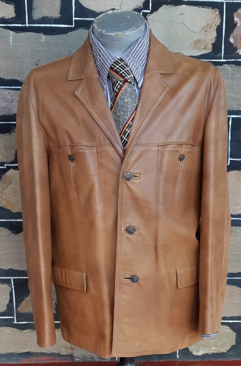 Leather 3/4 length Jacket, Tan, 1970's, by 'Farmers', size XL