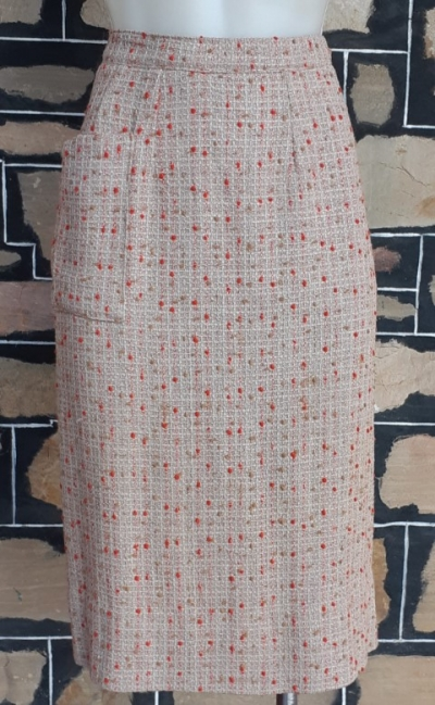 1950's Pencil skirt, textured wool, coffee/red, by 'Styleader of Melbourne' size 8