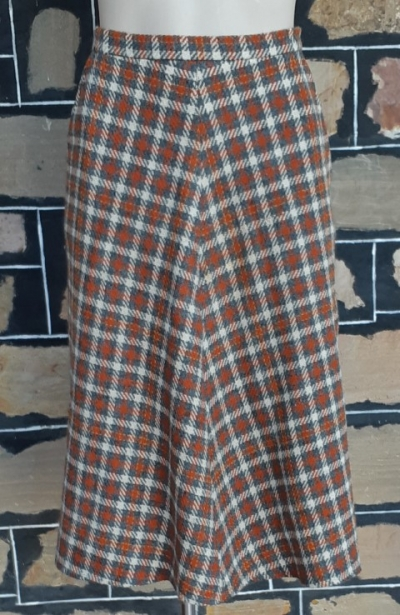 1970's Wool Checked skirt, rust/grey/cream by 'Miss Reed of Melbourne', size 12