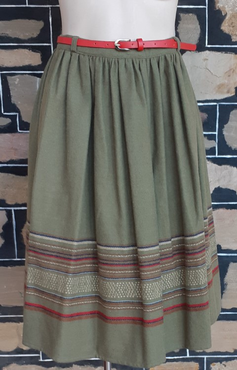 1970's Dirndl style skirt, olive, wool/poly by 'Bobby Brooks for Katies', size 10