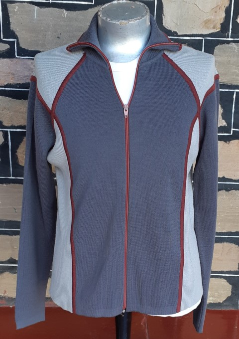 Zipped Front Cardigan, acrylic/ wool, Grey/maroon, by 'White Stag' size L