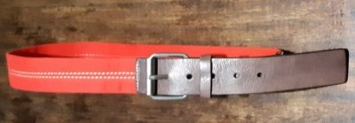 """Leather/canvas Belt, brown/red, by 'Sportscraft' size M, 34"""""""