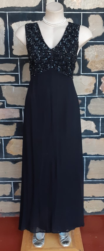 1960's Evening Gown, Black, Princess Line, Sequinned Bodice, Viscose By 'No !! Don't Go' size 12