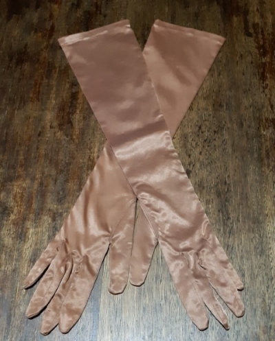 Vintage Elbow length gloves, rayon/nylon, Coffee, Made in West Germany, size 6.5