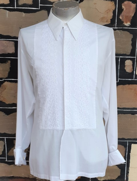 Dinner Shirt, 1960's, White, Poly/cotton by 'Welmar', USA, size 3XL