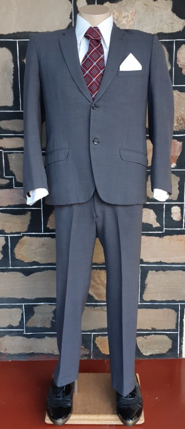 """1950's 2 piece suit, Fine grey checked, wool, by 'Don Tailors of Adelaide' size S-30"""""""