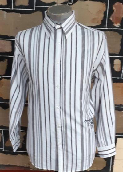 Retro inspired Striped shirt, white/ grey, poly/cotton by 'Jonathon Adams' size L-XL